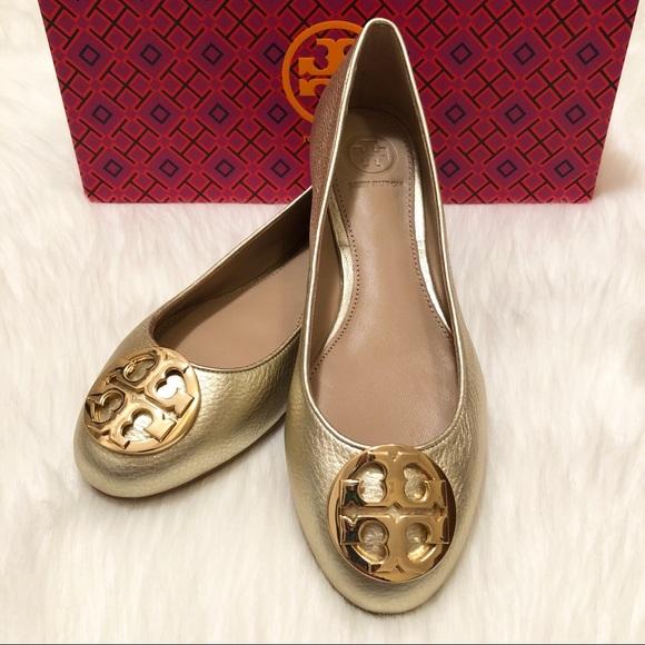 3d4b865980960 NWT Tory Burch Claire Gold Ballet Flats!